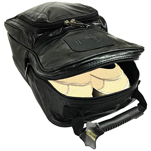 Lifestyle Banquet Golf Shoe Bag Men Leather with Separate Compartments for Shoes and Golf accessories   Leather Shoe Bag for Travel]()