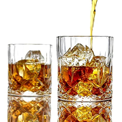 ELIDOMC Lead Free Crystal Whiskey Glasses (Set of 4), 11 Oz Unique Bourbon Glass, Ultra-Clarity Double Old Fashioned…