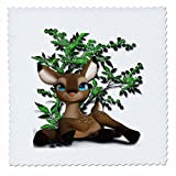 3dRose Cartoon Animals - Adorable fawn deer with big blue eyes laying in front of pretty tree - 25x25 inch quilt square (qs_265958_10)