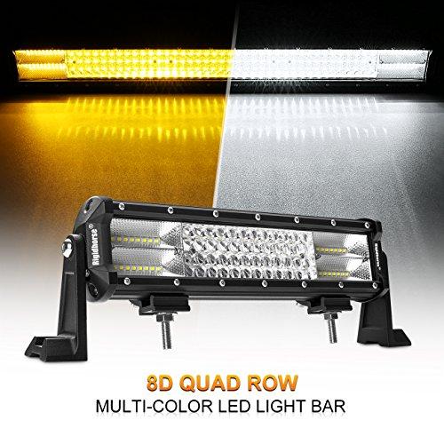 LED Light Bar, Rigidhorse 4 Row 12inch 252w Multi-Color Amber/White Light Bar Spot light & Flood light Combo Off Road Light with Mounting Brackets Set, For (Gmc Yukon Light Bar)