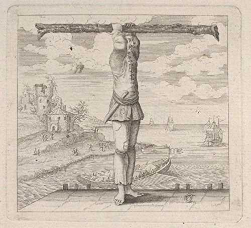 Historic Pictoric Fine Art Print | Anonymous, Italian, 18th Century | The Letter T Standing on a pier Holding a Tree Trunk | Vintage Wall Art | 14in x 11in ()