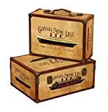 Deco 79 Wood Box, 17 by 15-Inch, Brown, Set of 2