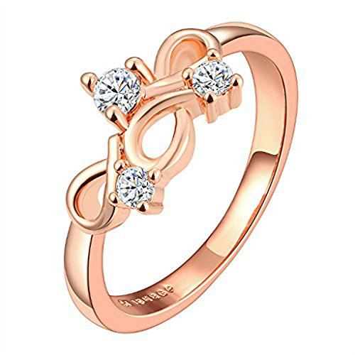YARUIE Women Classic Style Rose Gold Plated Infinity Design Zircon Crystal Ring US Size (Curvy Design Ring)