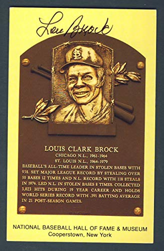 Lou Brock St. Louis Cardinals Signed 3 1/2 x 5 1/2 Hall of Fame Post Card 124268