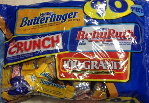 Assormnet Candy Butterfinger, Crunch, Babyruth,100 Grand 90 Pcs