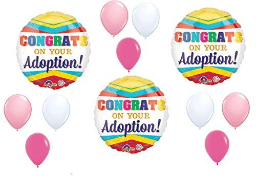 12pc new BALLOON set ADOPTION girl CONGRATS party -