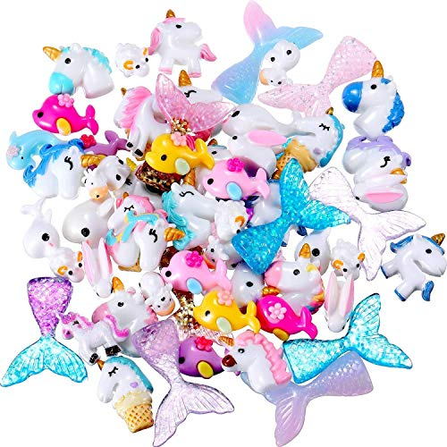 60 Pieces Slime Charms with Mermaid Tail Unicorn Dolphin Resin Flatback of Mixed Slime Beads for Ornament Scrapbook DIY Crafts ()