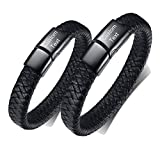 XUANPAI Custom Engraving His and Hers Stainless Steel Handmade Braided Couples Leather Cuff Bracelet Set