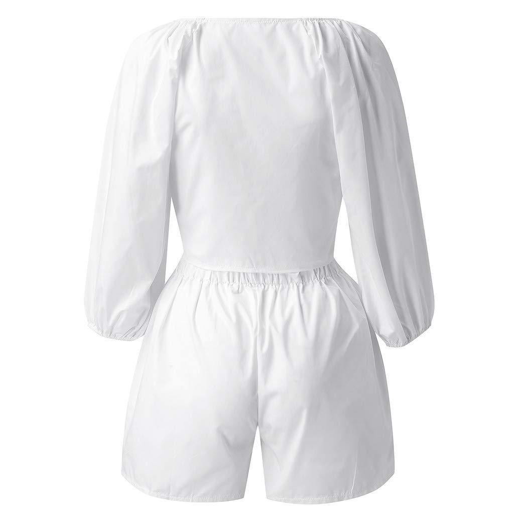 YUTING Mujer Casual Pantalones Cortos sólidos Camiseta de Manga ...