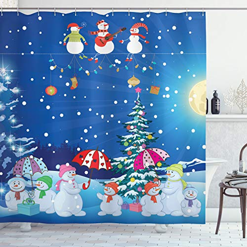 Ambesonne Christmas Snowman Winter Snowkids Snowing Moonlight Snowflakes Digital Print Polyester Fabric Shower Curtain Blue Yellow White Fuchsia Pink Green- Machine Washable 69Wx70L