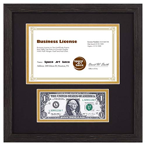 (Space Art Deco 11.5x11.5 Dark Brown Textured Frame - Black/Gold Double Mat with Two Openings - Sawtooth Hangers - Tempered Glass - for Business License and U.S. Dollar Bills)