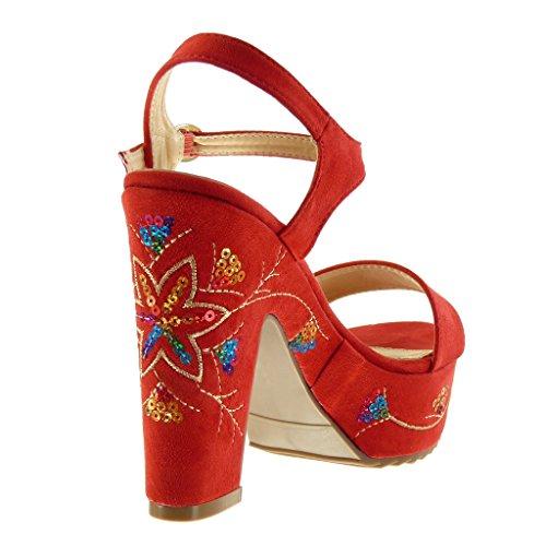 Bloccare 12 Tallone Scarpa Rosso Donna Piattaforma Superiore Infradito Fantasia Modo Ricamati Caviglia Angkorly 5 Cm FUgwq4A
