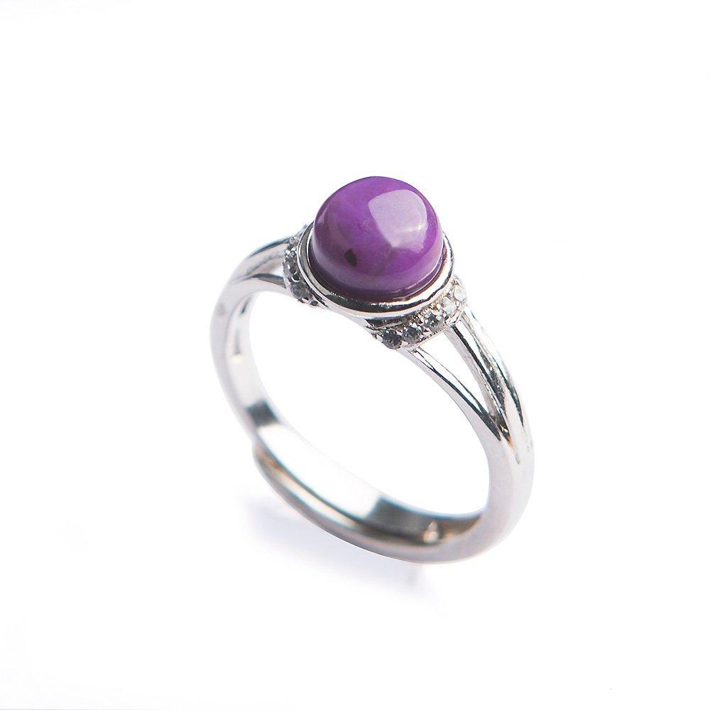 Reikocrystalbeads Beautiful Purple Ring Natural Sugilite Gemstone Size Adjuster Party Wedding
