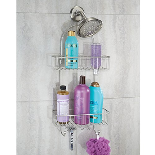 mDesign Bathroom 2-Tier Shower Caddy with Hooks for Shampoo, Conditioner, Soap, Razor - Satin