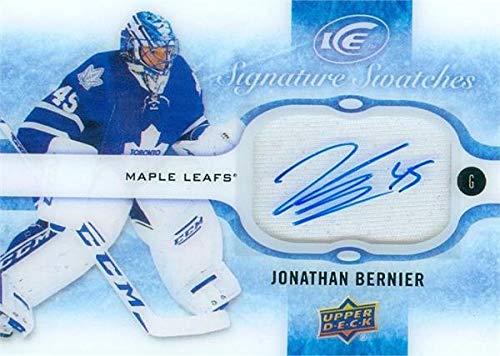 Jonathan Bernier autographed player worn jersey patch hockey card (Toronto Maple Leafs) 2016 Upper Deck Signature Swatches ICE #SSJB