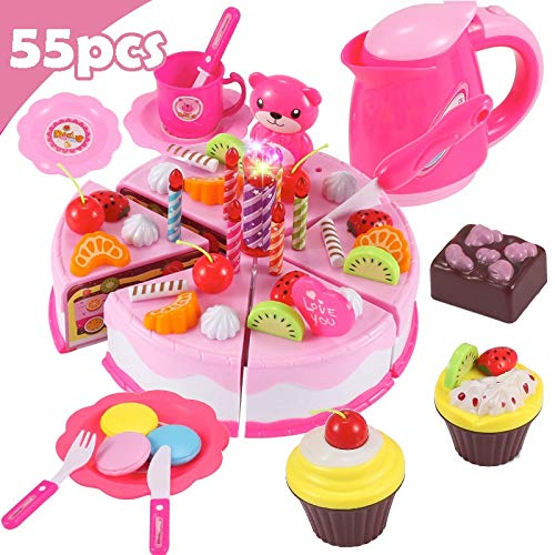 1 piece 37-80Pcs DIY Pretend Play Fruit Cutting Birthday Cake Kitchen Food Toys Cocina De Juguete Toy Pink Blue Girls Gift for Children