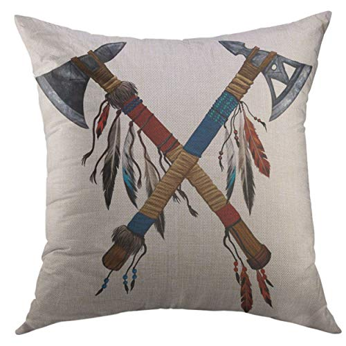 Mugod Decorative Throw Pillow Cover Couch Sofa,Two Crossed Tomahawks Feathers Beads Indian National Weapon Native American Ax Decorated Home Decor Pillow case 18x18 inch