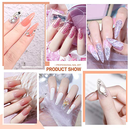 Morovan Acrylic Nail Kit - Glitter Acrylic Powder and Monomer Nail Liquid Nails Kit Acrylic Set with 48W Nail Lamp UV Gel Primer for Acrylic Nails