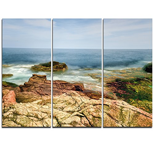 (Designart Thunder Hole Acadia National Park-Oversized Beach Canvas Artwork-36x28in-Multipanel 3 Piece, 28'' H x 36'' W x 1'' D 3P, Blue)