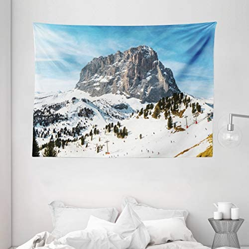 Ambesonne Mountain Tapestry, Majestic Mountain Northerns Italy European Mediterranean Snowy Peak Nature, Wide Wall Hanging for Bedroom Living Room Dorm, 80 X 60 , White Brown