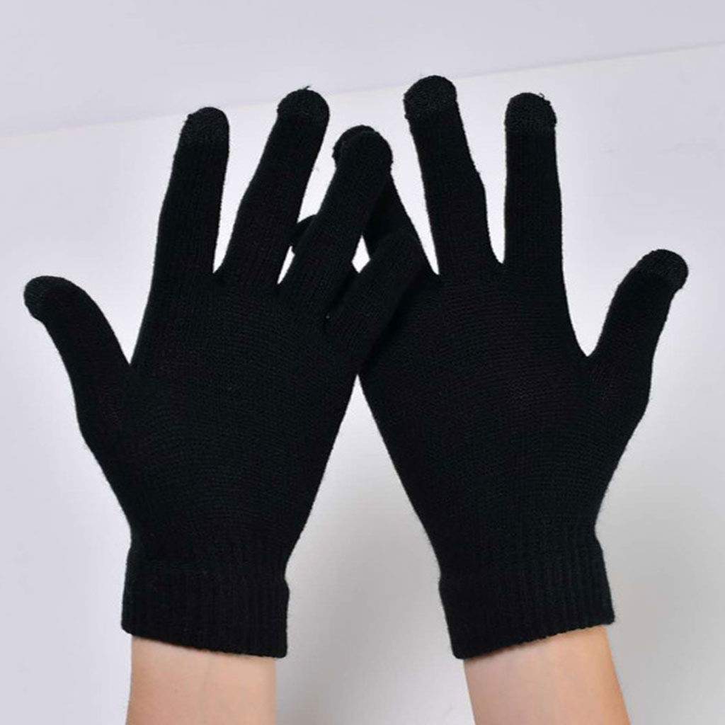 Yearkala Unisex Ribbed Knitted Elastic Cuff Winter Gloves Thickened Touch Screen Mittens Full Fingered Student Non-Slip