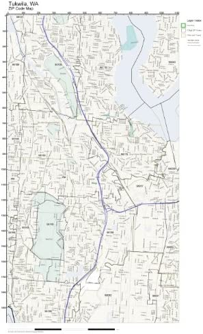 tukwila zip code map Amazon Com Zip Code Wall Map Of Tukwila Wa Zip Code Map