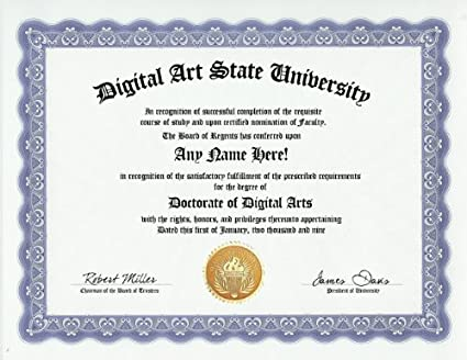 Amazon.com: Digital Art Arts Degree: Custom Gag Diploma Doctorate ...