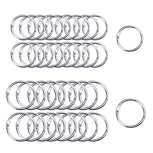 HAUTOCO 100Pcs Book Rings Assorted Sizes 1.2 Inch 1.4 Inch Diameter Binder Rings Metal Loose Leaf Rings, Nickel-Plated Finish, Silver