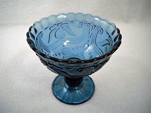 Ornate Pressed Glass Large Stemed Blue Dessert Bowl