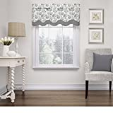 types of valances Single Piece Onyx 52 Inches Wide x 18 Inches Long Window Valance, Scallop Type, Rod Pocket, Toile Pattern, Traditional Style, Charmed Life Valance, Solid Trim, Cotton Material, Gray, White