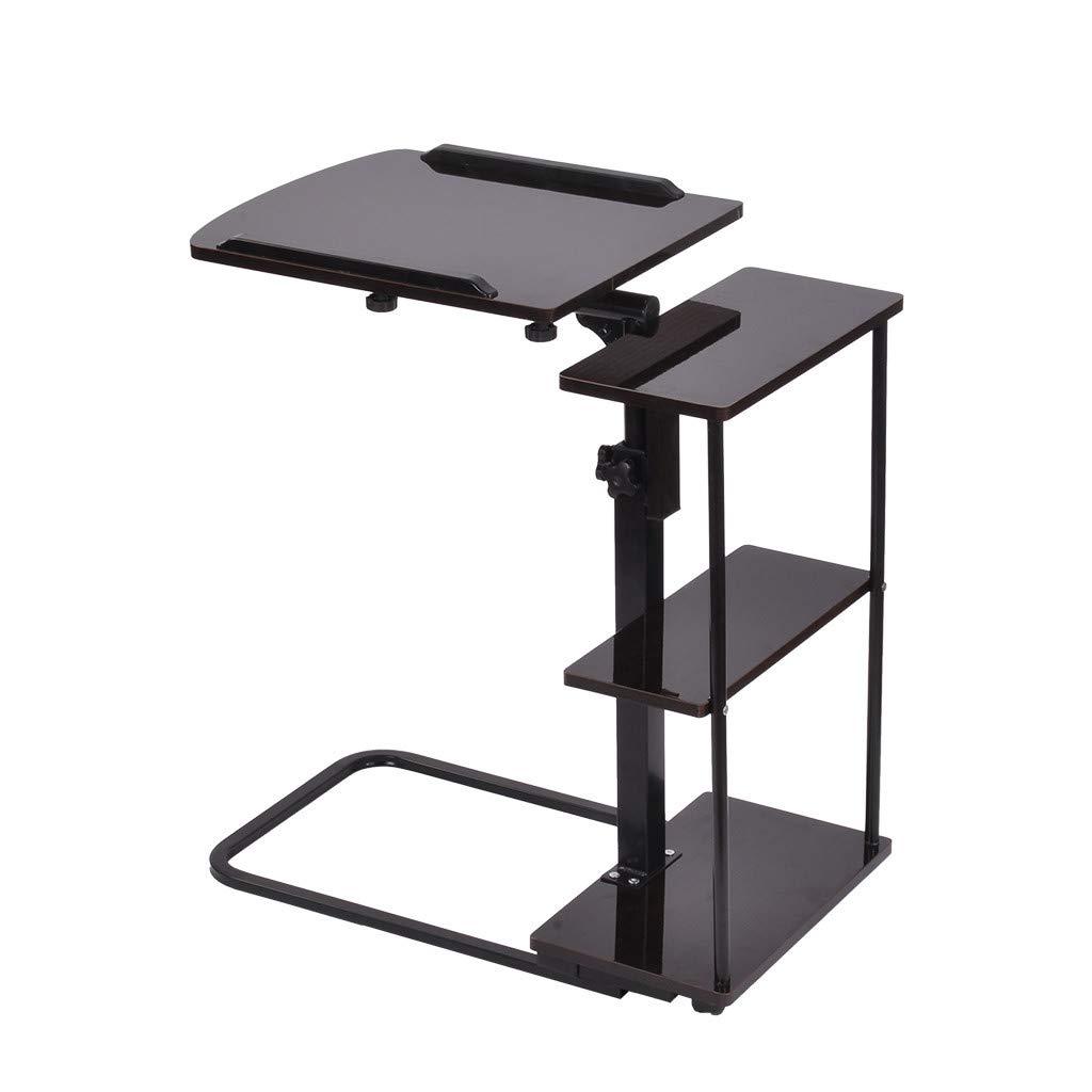 QIANSKY Computer Desk - Home Office Desk Overbed Table with Wheels - Laptop Stand Portable Height Adjustable Mobile Computer Desk - Modern Notebook Tablet Beside Bed Sofa Studying Desk (Black) by QIANSKY