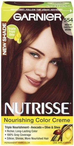 Garnier Nutrisse Couleur de cheveux permanente, 554 moyen Châtain (pack de 3)