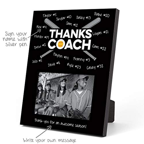 ChalkTalkSPORTS Softball Photo Frame | Coach (Autograph) Picture Frame | Black
