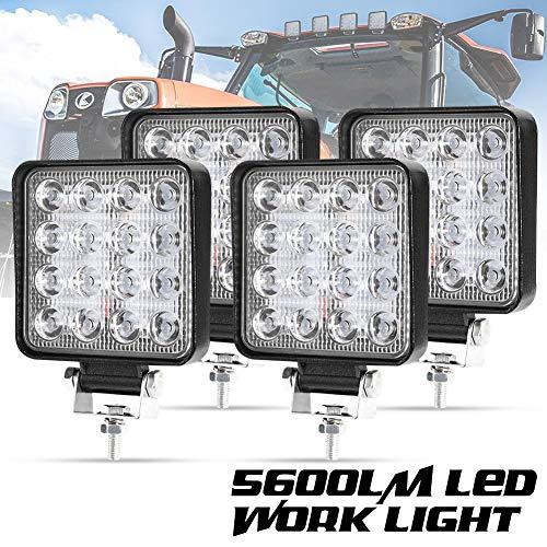 Liteway 4 Pcs LED Work Light - 4 Inch 80W Flood LED Light Bar for Tractor Offroad 4WD Truck ATV UTV SUV Driving Lamp Daytime Running Light, 1 Year Warranty