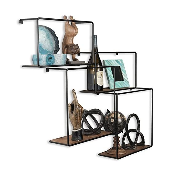 Wall Mounted Rustic Iron and Wood Intersecting Unique Floating Shelves Wood (4, Black) - Ingenious Design: Unlike other intersecting floating shelves these cubist shelves promise a unique and whimsical touch to your living room décor, the rustic finish with iron black borders and natural wood color will complement the look of your decoration. Basic Installation: Without requiring any frustrating assembly the display shelves are easy to mount on your unused wall space. The hooks and brackets are included in the package to save you time, energy and extra money. You Can't Go Wrong: With a chic, stylish and trendy design you can do yourself a favor and decorate your living room like a professional, the vintage look makes it impossible to create a disappointing décor. - wall-shelves, living-room-furniture, living-room - 51UzQXJgztL. SS570  -