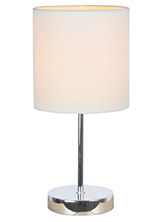 Simple Designs LT2007 WHT Chrome Mini Basic Table Lamp With Fabric Shade,  White