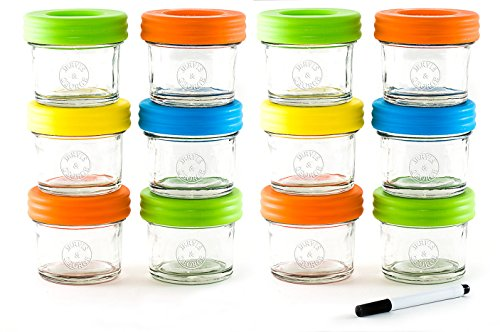 Glass Baby Food Storage Containers - Set contains 12 Small Reusable 4oz Jars with Airtight Lids - Safely (Baby Milk Container)
