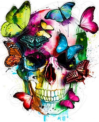 YEESAM ART Paint by Numbers for Adults, Colorful Skull & Butterflies, Halloween 16x20 inch Linen Canvas, DIY Number Painting -