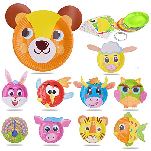 M MOOHAM Paper Plate Sticker - 10 Pcs DIY Cute Animal Paper Plate Stickers Early Learning Education Creative Paper Plates Art Kit for Kids -