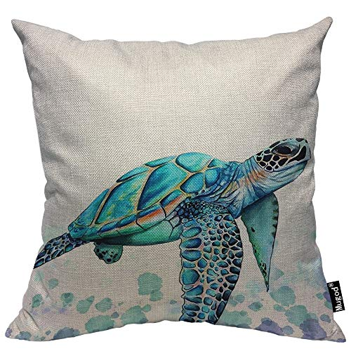 Mugod Sea Turtle Throw Pillow Watercolor Turtle Swim in The Sea Black Eyes Turquoise Cotton Linen Square Cushion Cover Standard Pillowcase 18x18 Inch for Home Decorative Bedroom/Living Room/Car (Square Sea Turtle)