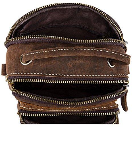 Pecho Mochila 14x6 de Hombre Hombro Bandolera Bolsos y de Autentico Pequeña Cuero 5x19CM 1 Bolsa Piel Bolsos Sucastle Resistentes Bolso gAwx77