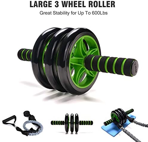 Odoland 3-In-1 AB Wheel Roller Kit AB Roller Pro with Resistant Band,Knee Pad,Anti-Slip Handles,Storage Bag and Training Program - Perfect Abdominal Core Carver Fitness Workout for Abs 2