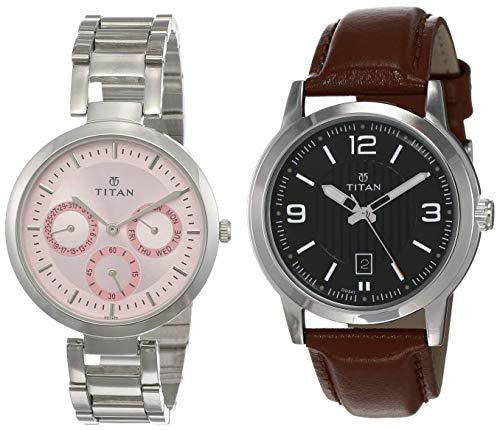 Titan Analog Couple #39;s Silver Watch  NK2480SM05 +NK1730SL02