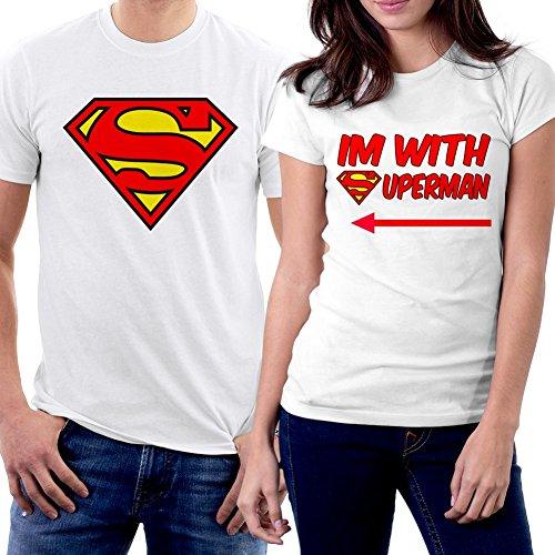 PicOnTshirt I am With Superman Couple T-shirts Men L / Women XS White