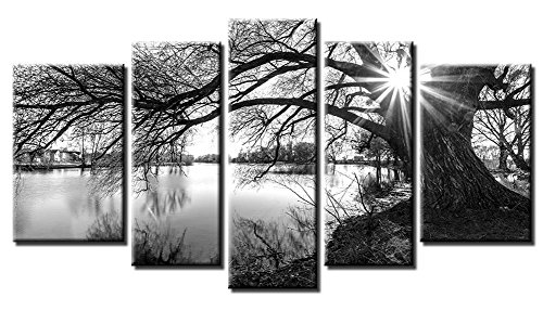 Yiijeah Oil Painting Modern Wall Art 5 Panels Black and White Willow Tree Landscape Painting Print on Canvas Stretched and Framed Artwork Ready to Hang for Living Room Bedroom Wall Decor ()