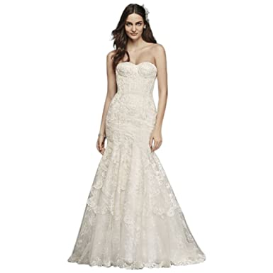 ae6505f134 Corseted Petite Mermaid Lace Wedding Dress Style 7SWG755