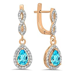 Blue Topaz Pear Gemstone & Round White Diamond Teardrop Earrings