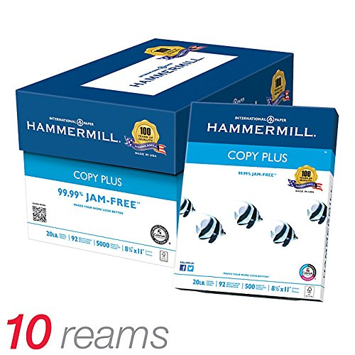 Hammermill Copy Plus MP Paper, Letter Size Paper, 20 Lb, 500 Sheets Per Ream, Case Of 10 Reams