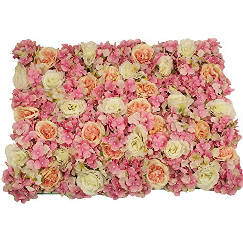 UNIQUE FOREST ARTS 24x16inch(40X60cm) Artificial Silk Rose Hydrangea Flower Wall Decoration Decorative Silk Hydrangea Flower mat Wall for Wedding Backdrop Party Event Decor(Set of 4) (Pink)