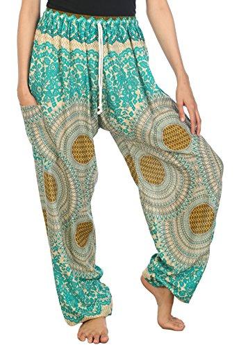 Lofbaz Mujeres Harén Pantalones de cintura de cordón Ropa Boho Yoga Rose 2 Verde